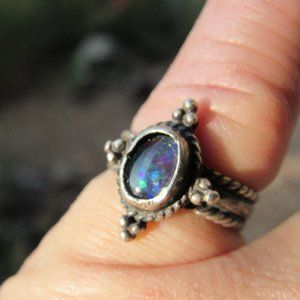 Vintage Natural Blue Opal and 925 Silver Ring 6